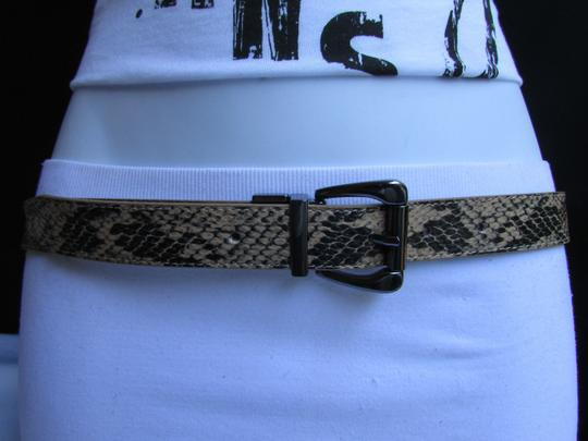 Other Faux Leather Thin Beige Snake Skin Print Metal Buckles Women Belt Image 1