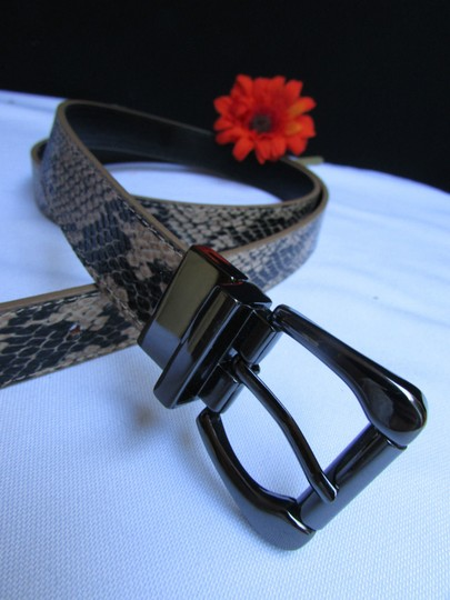 Other Faux Leather Thin Beige Snake Skin Print Metal Buckles Women Belt Image 10