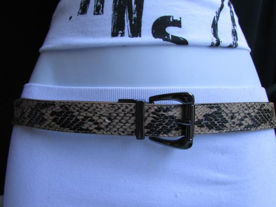 Other Faux Leather Thin Beige Snake Skin Print Metal Buckles Women Belt Image 2