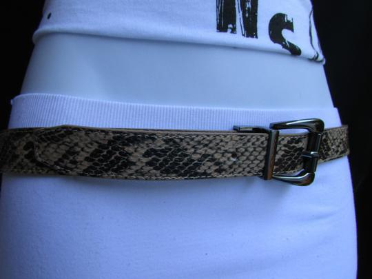 Other Faux Leather Thin Beige Snake Skin Print Metal Buckles Women Belt Image 3