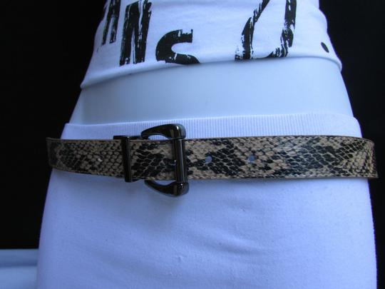 Other Faux Leather Thin Beige Snake Skin Print Metal Buckles Women Belt Image 5