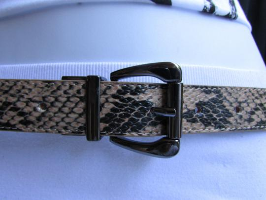 Other Faux Leather Thin Beige Snake Skin Print Metal Buckles Women Belt Image 9