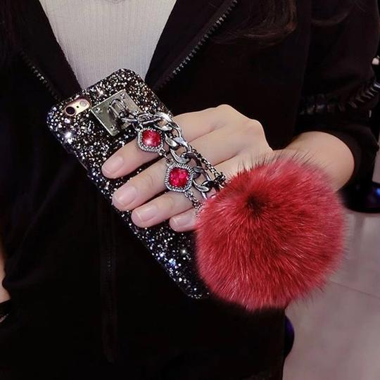 Preload https://img-static.tradesy.com/item/23166512/red-and-black-luxury-glitter-powder-fox-fur-ball-bling-bling-tech-accessory-0-0-540-540.jpg
