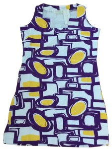 Tracy Negoshian short dress purple white yellow gold. on Tradesy