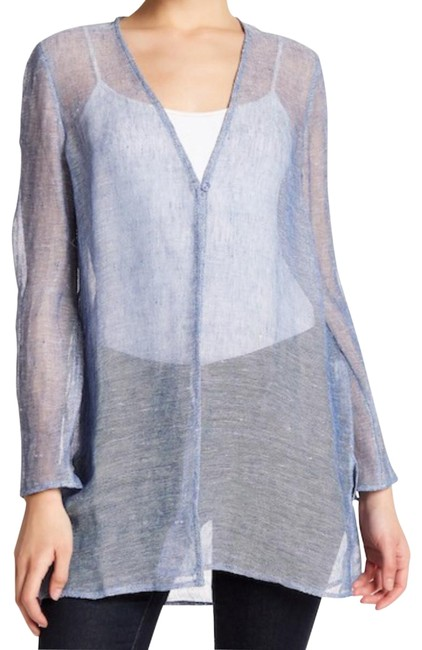 Preload https://img-static.tradesy.com/item/23166572/eileen-fisher-blue-organic-linen-mesh-layering-jacket-sweaterpullover-size-petite-6-s-0-1-650-650.jpg