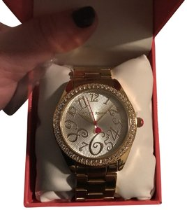 Betsey Johnson New Betsey Johnson BJ00048-03 Gold Glitz Stainless Boyfriend Ladies Watch