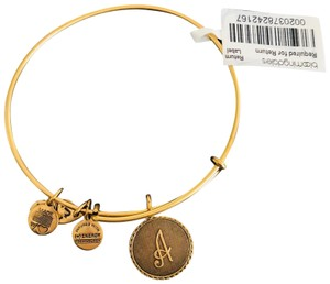 "Alex and Ani stackable bangle with ""A"" initial charm"