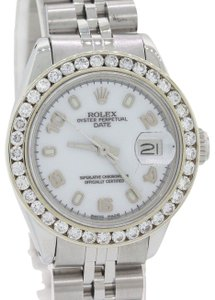 Rolex Ladies Rolex Date 26mm 6917 DateJust Steel Diamond White Arabic Watch