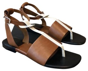 Rag & Bone tobacco and ivory color leather on black sole Sandals