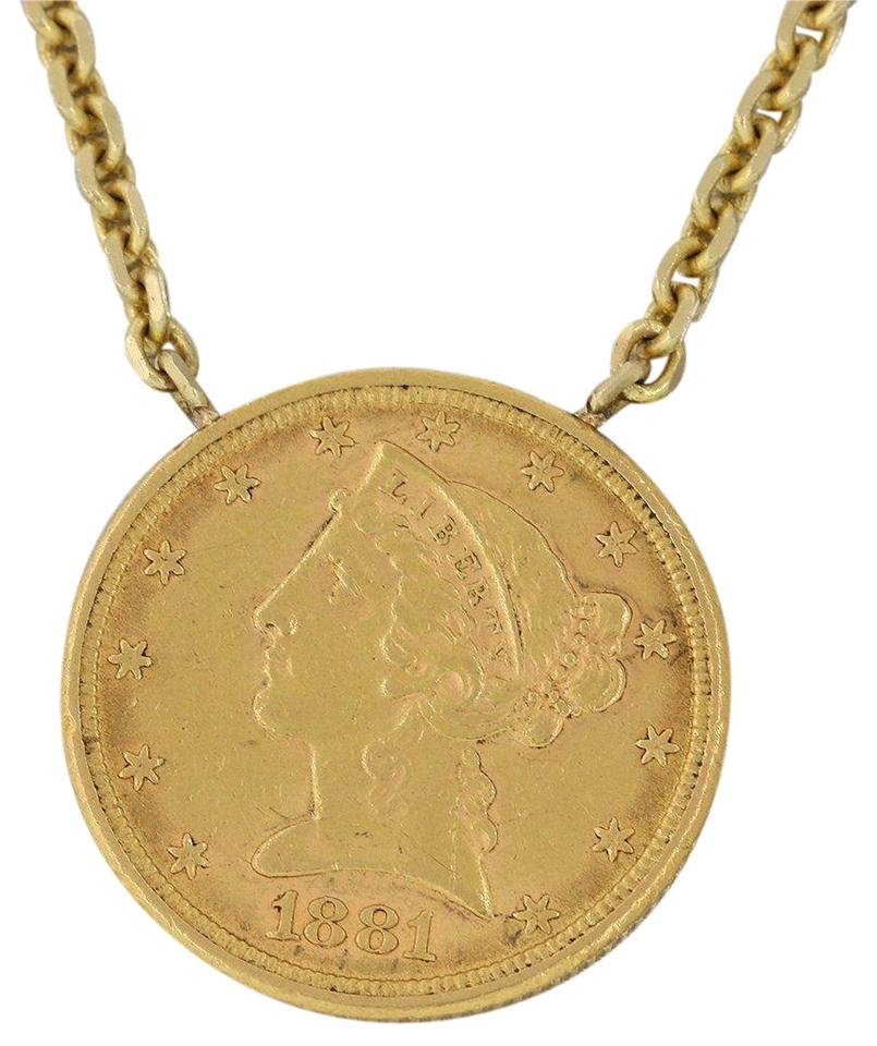 gold i coin liberty yellow necklace pendant five dollar antique others victorian