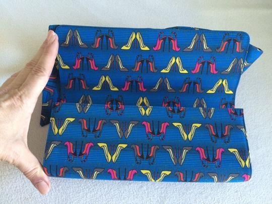 Christian Louboutin Signature Red Lining Blue Clutch Image 1