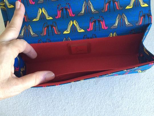Christian Louboutin Signature Red Lining Blue Clutch Image 2