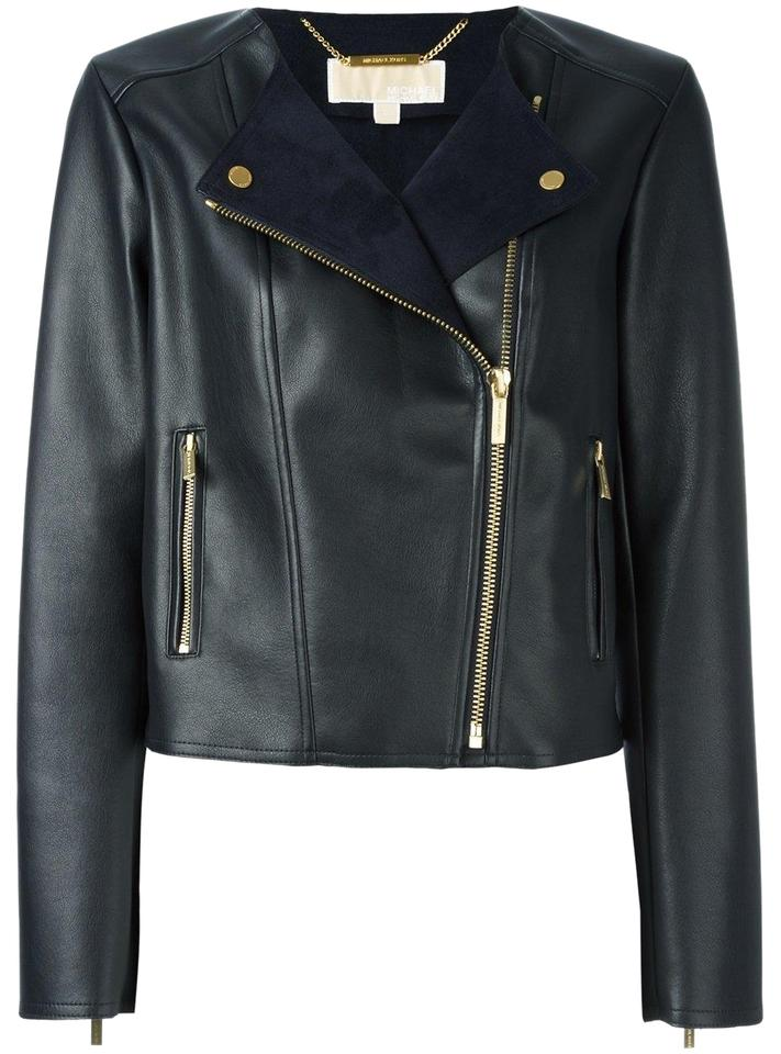 5a545454 MICHAEL Michael Kors Faux Gold Hardware Moto Biker Navy Leather Jacket  Image 0 ...