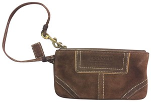 Coach Suede Leather Wristlet in Brown