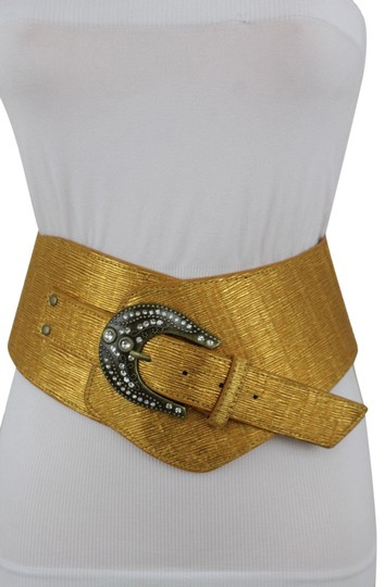 Alwaystyle4you Metallic Gold Extra Wide Multi Rhinestone Buckles Women Belt Image 0