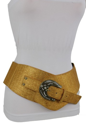 Alwaystyle4you Metallic Gold Extra Wide Multi Rhinestone Buckles Women Belt Image 1
