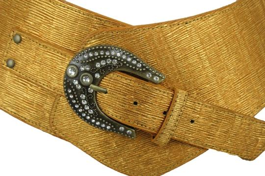 Alwaystyle4you Metallic Gold Extra Wide Multi Rhinestone Buckles Women Belt Image 11
