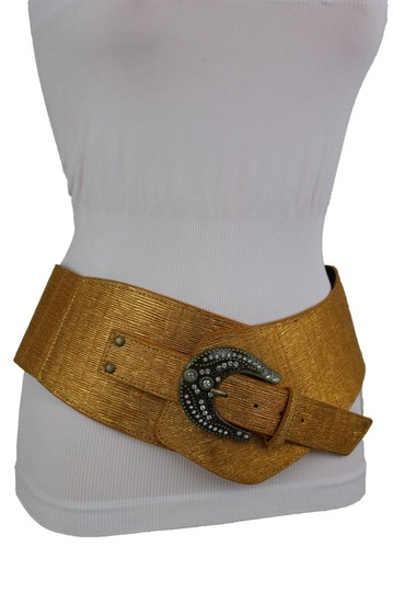 Alwaystyle4you Metallic Gold Extra Wide Multi Rhinestone Buckles Women Belt Image 4