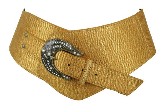 Alwaystyle4you Metallic Gold Extra Wide Multi Rhinestone Buckles Women Belt Image 9