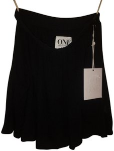 One Teaspoon Relaxed Mini Viscose Pockets Slouched Mini Skirt Black
