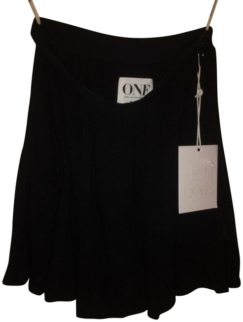 One Teaspoon Relaxed Mini Viscose Pockets Slouched Mini Skirt Black Image 0