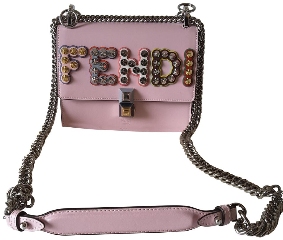 e753feb031 Fendi Kan I Small Studded Logo Pearl Pink Leather Cross Body Bag ...