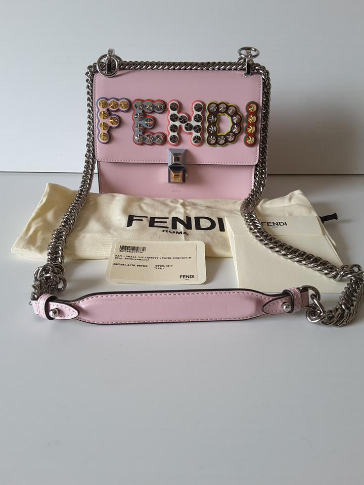 69afea342f Fendi Kan I Small Studded Logo Pearl Pink Leather Cross Body Bag - Tradesy