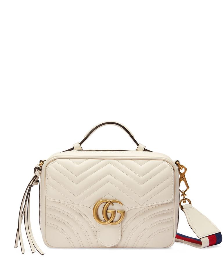 87c714c0d9a1cc Gucci Marmont New Last Pc. Shoulder Top Handle Camera Web Strap White  Leather Cross Body Bag