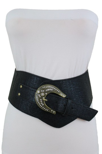 Alwaystyle4you Black Extra Wide Multi Rhinestone Big Bling Buckles Women Belt Image 2