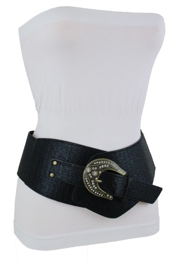 Alwaystyle4you Black Extra Wide Multi Rhinestone Big Bling Buckles Women Belt Image 3