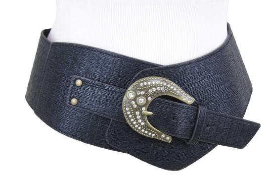 Alwaystyle4you Black Extra Wide Multi Rhinestone Big Bling Buckles Women Belt Image 8