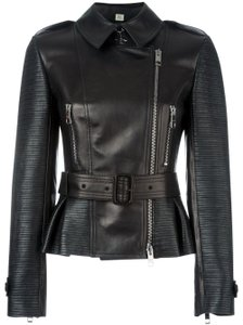 Burberry Biker Moto Ribbed Leather Jacket