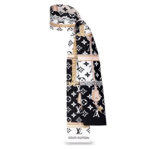 Louis Vuitton 2018 Sold Out Limited Confidential Bandeau Black White Monogram Gold Lock Silk Scarf