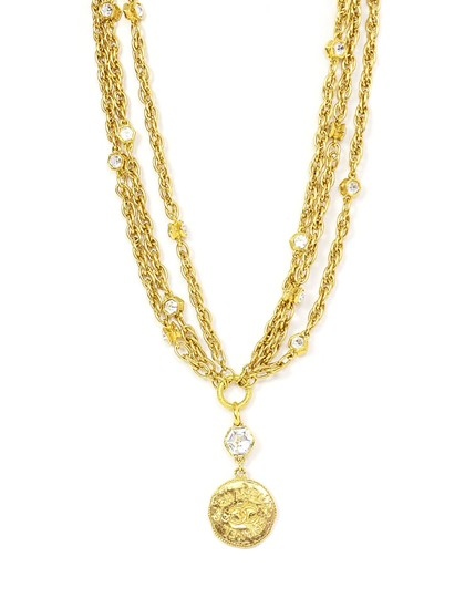 Chanel Chanel Vintage 80's Gold CC Pendant Multi-Strand Necklace Image 0