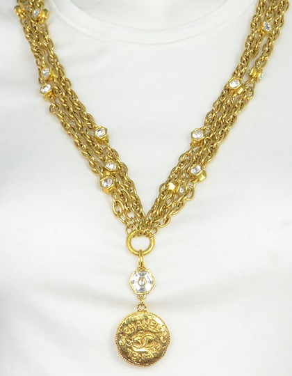 Chanel Chanel Vintage 80's Gold CC Pendant Multi-Strand Necklace Image 3