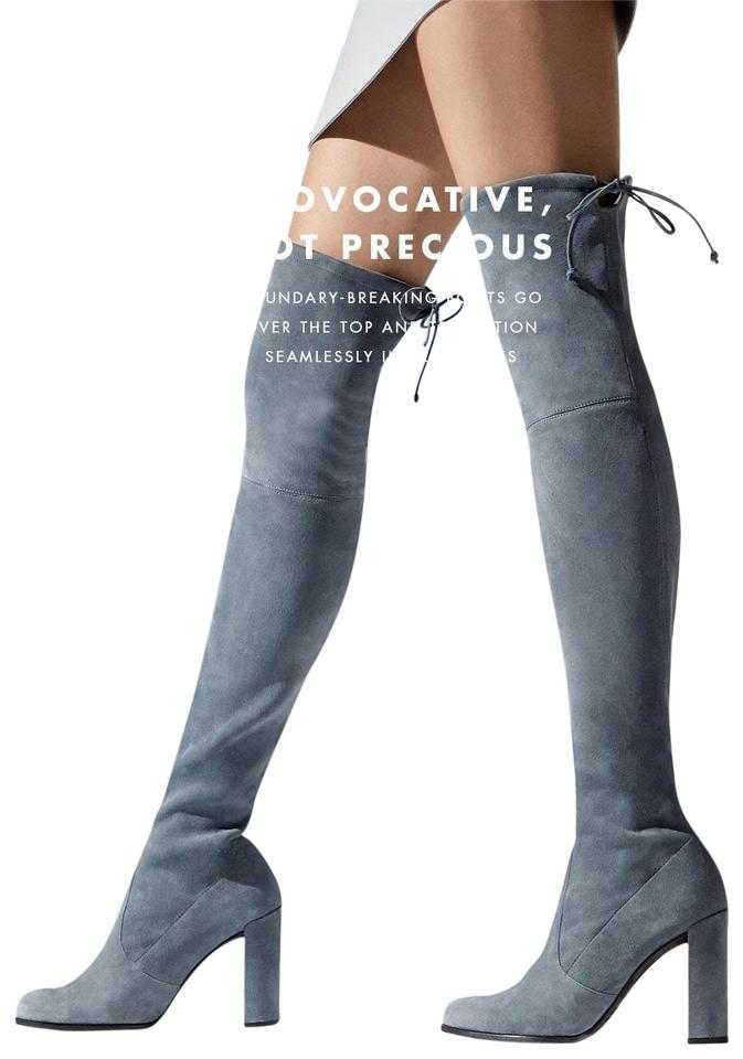 a301a2505b9 Stuart Weitzman Denim Blue Suede Hiline Over The Knee Boots Booties ...