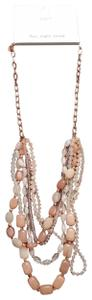 Ann Taylor LOFT NWT Loft Multi-strand Necklace, Rose Goldtone with Pale Pink Beads