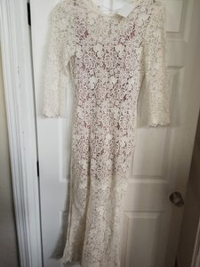 Fleur du Mal Ivory Mauve Guipure Lace Cotton Silk Gown with Underlining Sexy Wedding Dress Size 6 (S)