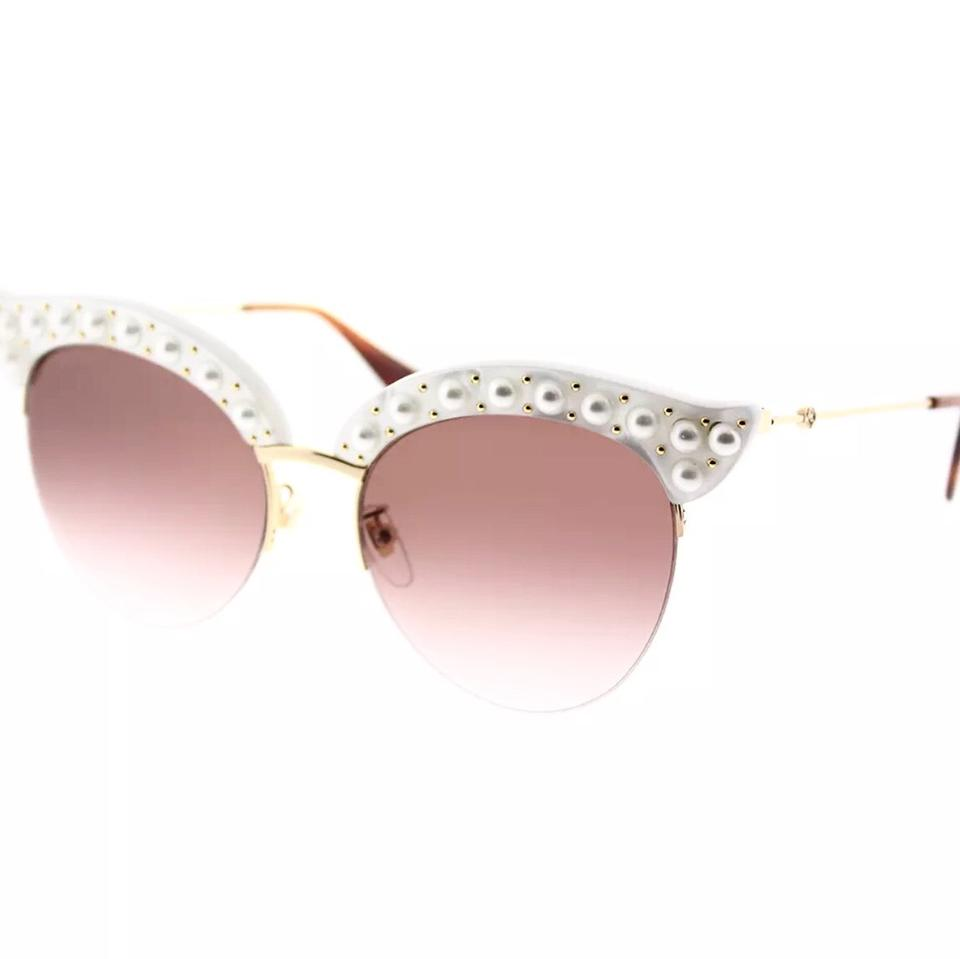 a4eee3d91f702 Gucci White Faux Pearl Cat Eyes Sunglasses - Tradesy