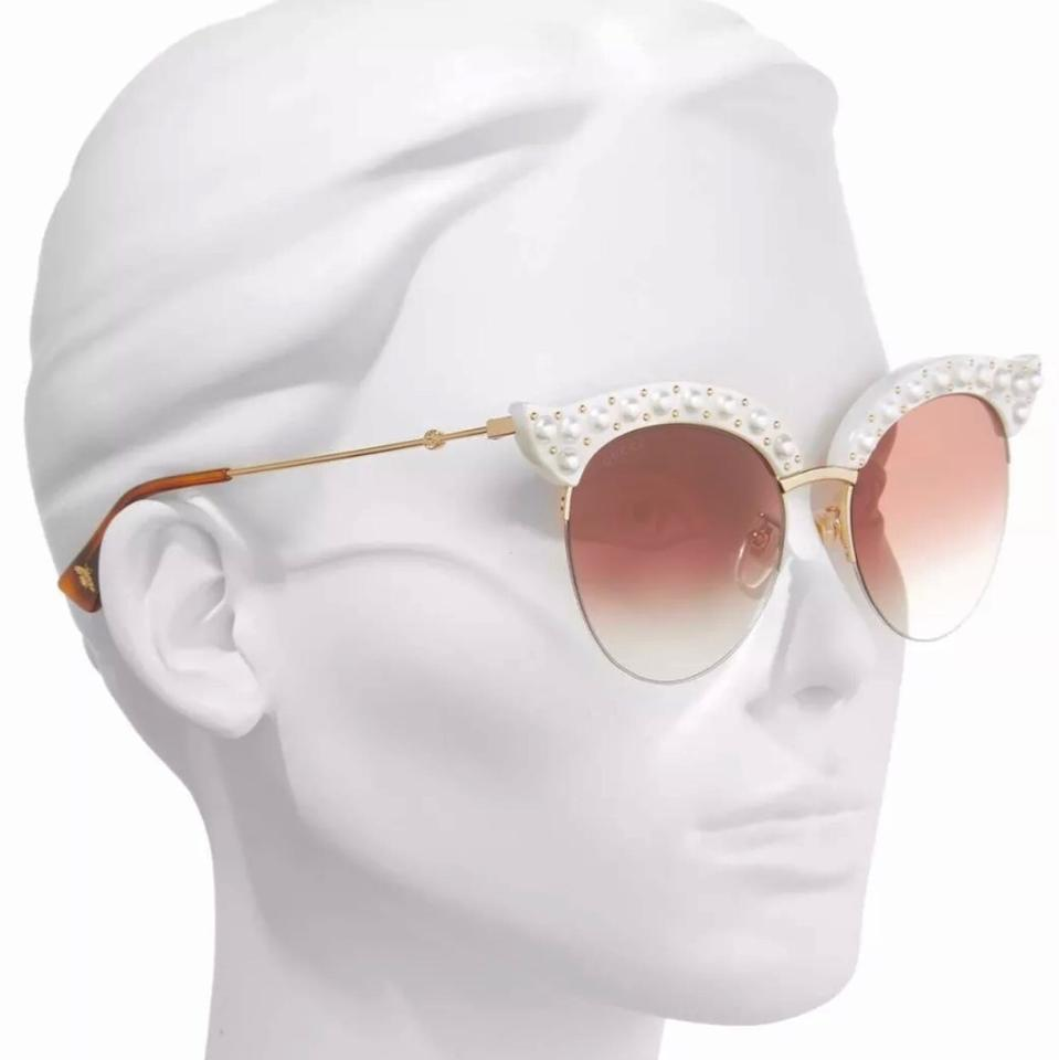 e282e9f098 Gucci White Faux Pearl Cat Eyes Sunglasses - Tradesy