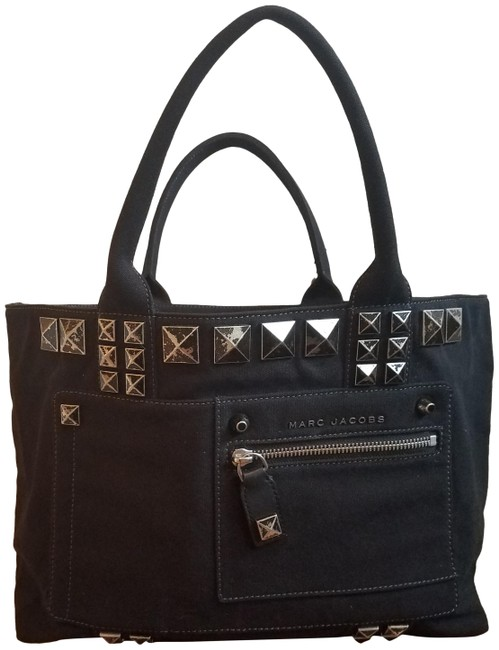 Marc Jacobs Chipped Studs Black Canvas Tote Marc Jacobs Chipped Studs Black Canvas Tote Image 1
