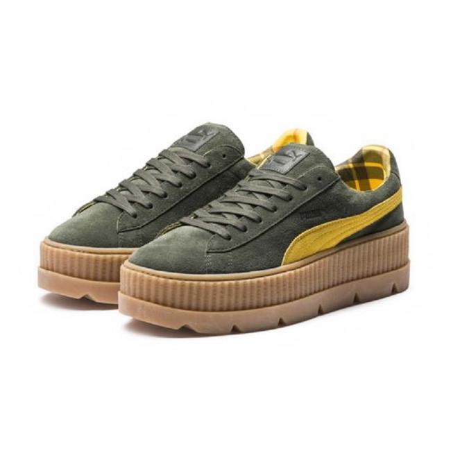 Item - Army Green Women's Cleated Creeper Suede Platform Sneakers Size US 7 Regular (M, B)