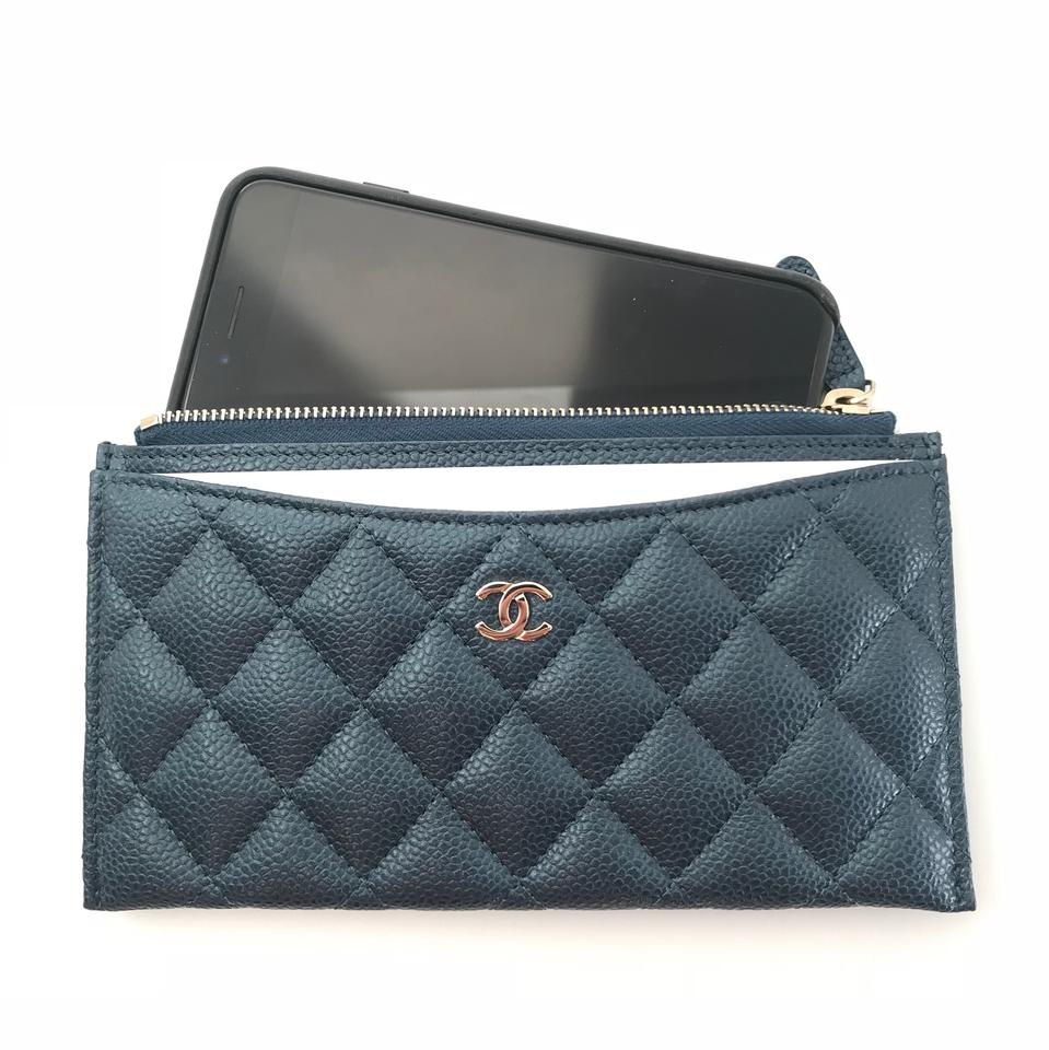 online store feba7 b0b34 Chanel Blue Classic O Case Phone Case Pouch Card Holder Wallet
