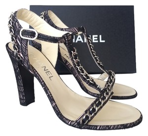 Chanel Silver Chain BLACK/BEIGE Sandals