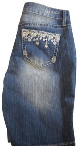 Hydraulic Denim/Jean Embroidered Pockets Medium Wash 5 Pockets Bermuda Shorts Blue