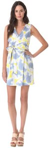 Diane von Furstenberg short dress Yellow, Grey, White Dvf Waist Tie Silk Mateo Faux Wrap on Tradesy