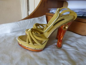 Louis Vuitton MUSTARD YELLOW TOP & BROWN HEELS Platforms