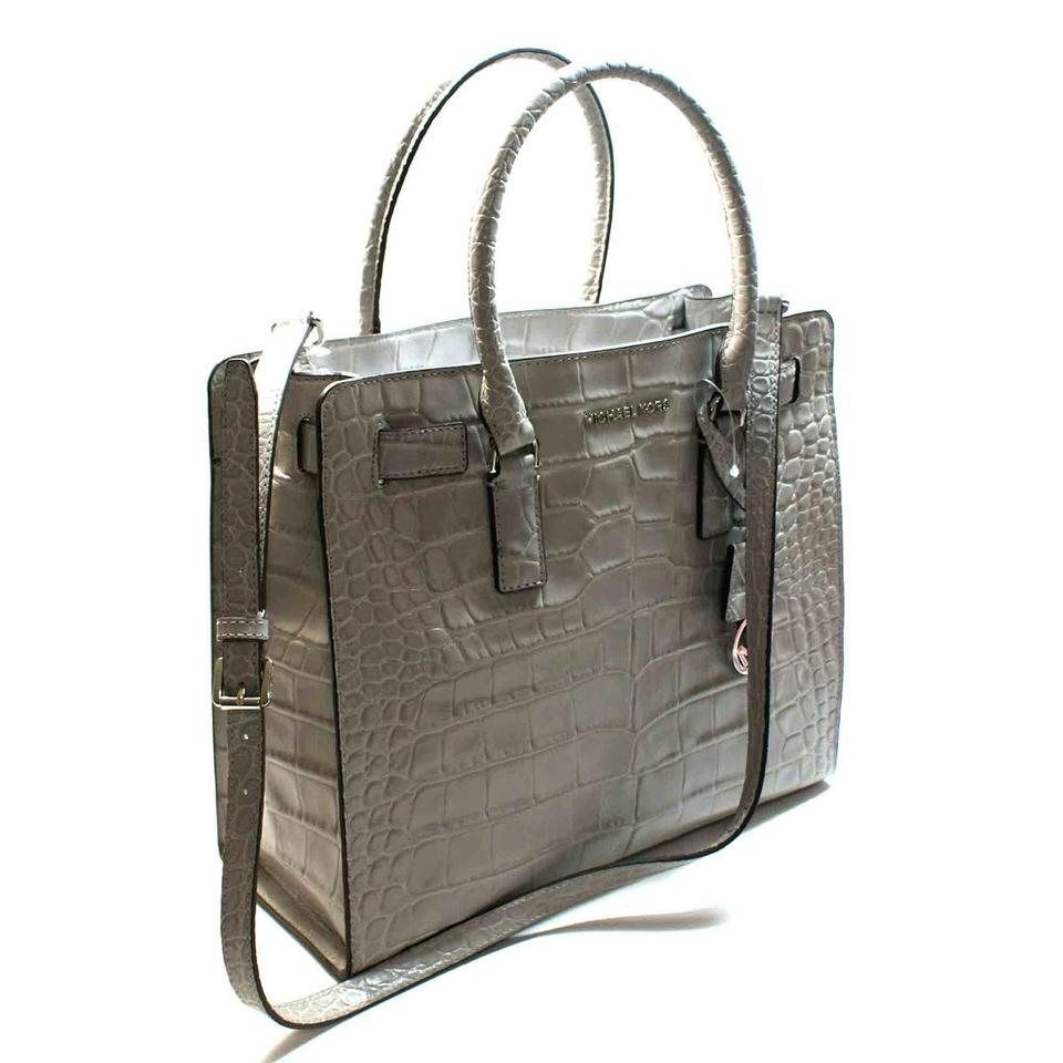 68005e0fa3f6 Michael Kors Dillon Croco Croc Ns North South Tote Silver Ash Gray ...