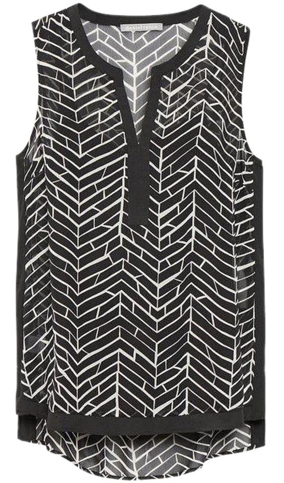 f6b01f05b08 Daniel Rainn New Black & White Chevron Tile Bellatrix Surplice Sleeveless  Blouse. Size: 16 ...