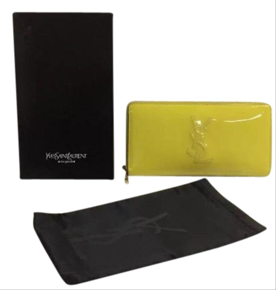 423f65509df59 Saint Laurent Bright Yellow Ysl Women s Monogram Patent Leather Zip ...